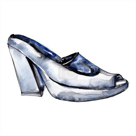 Photo pour Chaussures à talons hauts noir dessin illustration glamour fashion dans un élément isolé de style aquarelle. Vêtements accessoires set tenue de mode vogue. Aquarelle fond illustration jeu. - image libre de droit