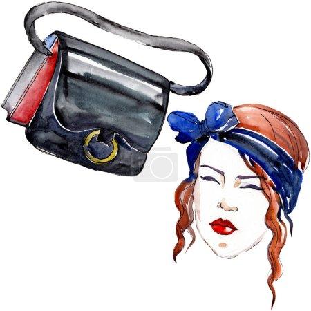 Photo pour Esquisse fille et sac illustration glamour de mode dans un élément isolé de style aquarelle. Vêtements accessoires ensemble tenue vogue à la mode. Ensemble d'illustration de fond aquarelle . - image libre de droit