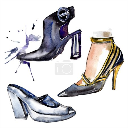 Black high heel shoes sketch fashion glamour illustration in a watercolor style isolated element. Clothes accessories set trendy vogue outfit. Watercolour background illustration set.