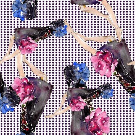 Photo pour Esquisse à la mode illustration glamour de mode dans un élément de style aquarelle. Vêtements accessoires ensemble tenue vogue à la mode. Ensemble aquarelle motif de fond sans couture. Texture d'impression papier peint tissu . - image libre de droit