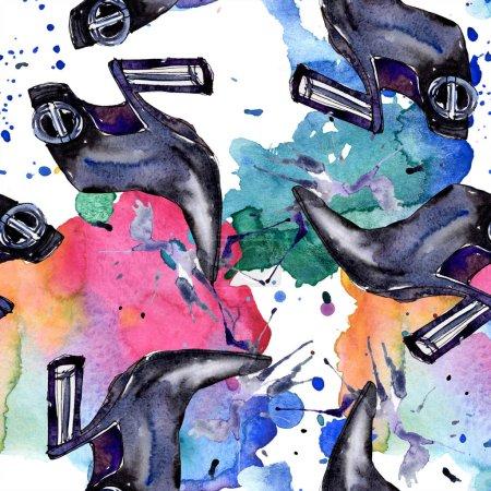 Photo pour Croquis à la mode fashion glamour illustration dans un élément de style aquarelle. Vêtements accessoires set tenue de mode vogue. Aquarelle définie le motif d'arrière-plan transparente. Impression texture de tissu papier peint. - image libre de droit