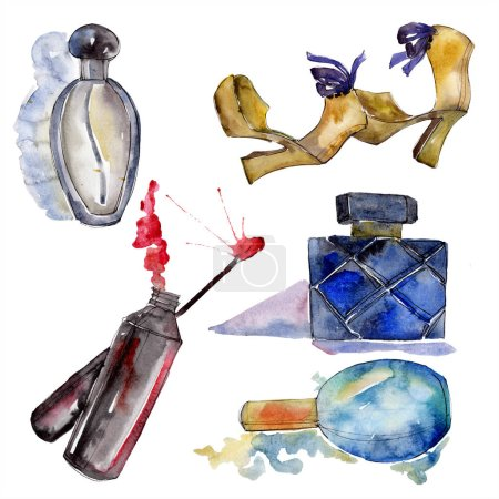 Photo for Lip gloss, shoes and perfume sketch fashion glamour illustration in a watercolor style isolated element. Clothes accessories set trendy vogue outfit. Watercolour background illustration set. - Royalty Free Image