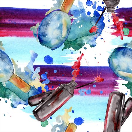 Foto de Bosquejo de moda ilustración de glamour de moda en un elemento de estilo acuarela. Ropa accesorios set look moda vogue. Acuarela conjunto patrón de fondo transparente. Textura impresión de papel pintado de tela. - Imagen libre de derechos