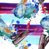 """Постер, картина, фотообои """"Модно эскиз моды Иллюстрация гламур в элементе style акварель. Одежда аксессуары набор мода модный наряд. Акварель набор бесшовных фоновый узор. Обои для рабочего стола ткань печати текстуры."""""""
