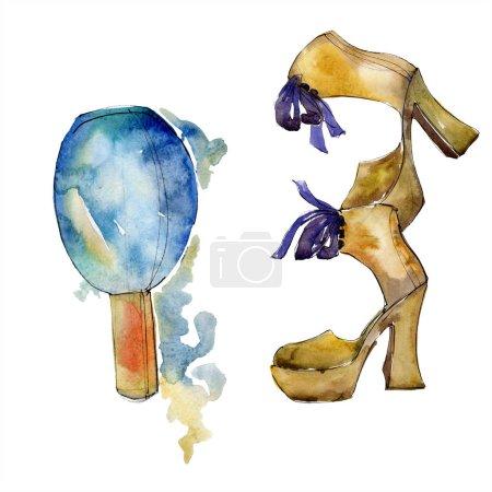 Photo pour Chaussures et parfums croquis illustration glamour fashion dans un élément isolé de style aquarelle. Vêtements accessoires set tenue de mode vogue. Aquarelle fond illustration jeu. - image libre de droit