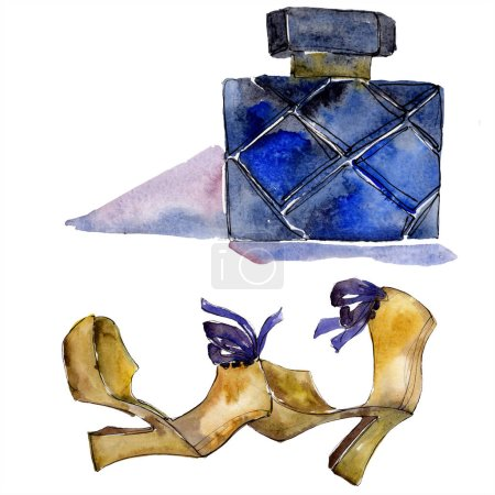 Photo for Shoes and perfume sketch fashion glamour illustration in a watercolor style isolated element. Clothes accessories set trendy vogue outfit. Watercolour background illustration set. - Royalty Free Image
