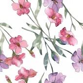 """Постер, картина, фотообои """"Розовый и фиолетовый цветок льна ботанический. Дикие весны листьев изолированы. Набор акварели иллюстрации. Рисования акварелью моды акварель. Бесшовный фон узор. Обои для рабочего стола ткань печати текстуры"""""""