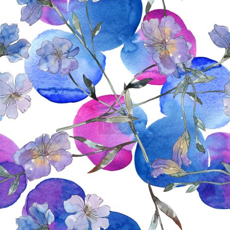 Photo for Pink and purple flax botanical flower. Wild spring leaf isolated. Watercolor illustration set. Watercolour drawing fashion aquarelle. Seamless background pattern. Fabric wallpaper print texture. - Royalty Free Image
