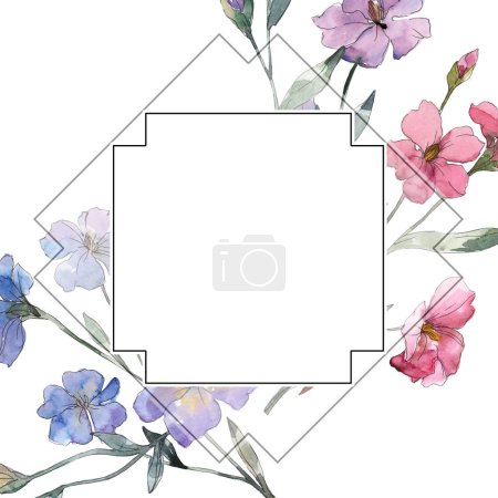 Photo for Pink and purple flax floral botanical flower. Wild spring leaf wildflower isolated. Watercolor background illustration set. Watercolour drawing fashion aquarelle. Frame border ornament square. - Royalty Free Image
