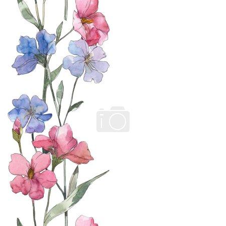Foto de Flor botánica lino color rosa y púrpura. Hoja de primavera salvaje aislada. Conjunto de ilustración acuarela. Aquarelle de moda dibujo de acuarela. Patrón de fondo transparente. Textura impresión de papel pintado de tela. - Imagen libre de derechos