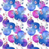"""Постер, картина, фотообои """"Розовый и фиолетовый цветок льна ботанический. Дикие весны листьев изолированы. Набор акварели иллюстрации. Рисования акварелью моды акварель. Бесшовный фон узор. Обои для рабочего стола ткань печати текстуры."""""""