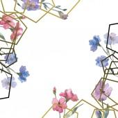 """Постер, картина, фотообои """"Розовый и фиолетовый льна цветочные ботанические цветок. Дикие весны листьев Уайлдфлауэр изолированы. Акварель фон иллюстрации набора. Рисования акварелью моды акварель. Площадь орнамент границы кадра."""""""