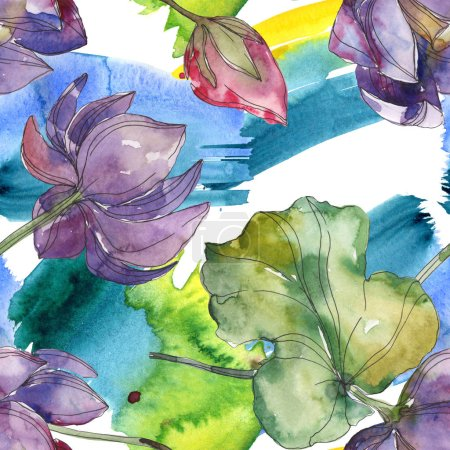 Photo for Pink and purple lotus botanical flower. Wild spring leaf isolated. Watercolor illustration set. Watercolour drawing fashion aquarelle. Seamless background pattern. Fabric wallpaper print texture. - Royalty Free Image