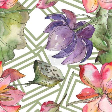 Photo pour Botanique fleur de lotus rose et violet. Feuille de printemps sauvage isolé. Illustration aquarelle ensemble. Dessin aquarelle de mode aquarelle. Motif de fond transparente. Impression texture de tissu papier peint. - image libre de droit