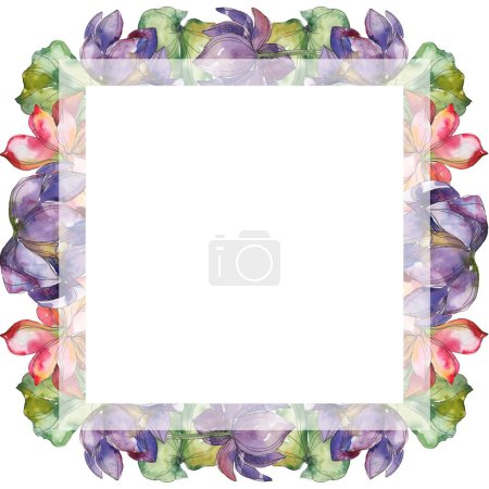 Photo for Pink and purple lotus foral botanical flower. Wild spring leaf wildflower isolated. Watercolor background illustration set. Watercolour drawing fashion aquarelle. Frame border ornament square. - Royalty Free Image