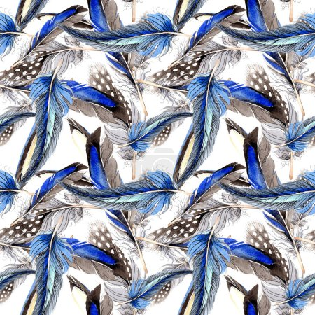 Photo pour Plumes d'oiseaux de l'aile. Aquarelle de fond illustration ensemble. Motif de fond transparente. Impression texture de tissu papier peint. - image libre de droit