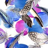 """Постер, картина, фотообои """"Перья птиц от крыла. Акварель фон иллюстрации набора. Бесшовный фон узор. Обои для рабочего стола ткань печати текстуры."""""""