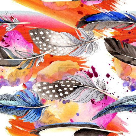 Photo for Bird feathers from wing. Watercolor background illustration set. Seamless background pattern. Fabric wallpaper print texture. - Royalty Free Image
