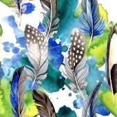 """Постер, картина, фотообои """"Перья птиц от крыла. Акварель фон иллюстрации набора. Бесшовный фон узор. Обои для рабочего стола ткань печати текстуры"""""""