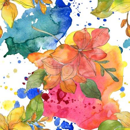Photo pour Rouges et jaunes fleurs botaniques tropicaux. Feuille de printemps sauvage isolé. Illustration aquarelle ensemble. Dessin aquarelle de mode aquarelle. Motif de fond transparente. Impression texture de tissu papier peint. - image libre de droit