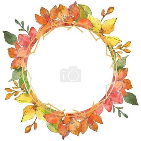 Photo pour Rouges et jaunes florales botaniques fleurs tropicales. Wildflower de feuille de printemps sauvage isolé. Aquarelle de fond illustration ensemble. Dessin aquarelle de mode aquarelle. Place de cadre bordure ornement. - image libre de droit