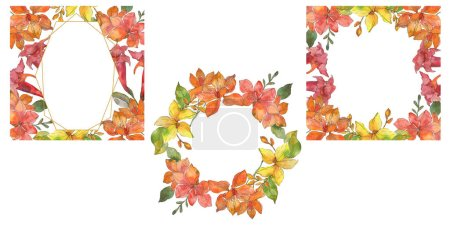 Photo for Red and yellow tropical floral botanical flowers. Wild spring leaf wildflower isolated. Watercolor background illustration set. Watercolour drawing fashion aquarelle. Frame border ornament square. - Royalty Free Image