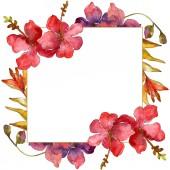"""Постер, картина, фотообои """"Цветы, изолированные на белом фоне. Акварель фон иллюстрации набора. Орнамент границы кадра с копией пространства"""""""