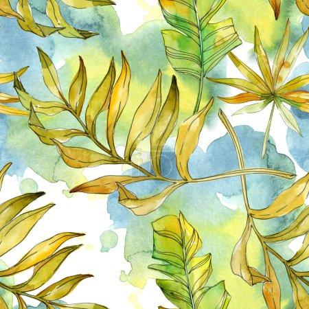 Photo pour Fleurs botaniques florales tropicales. Feuille de plante exotique isolée. Ensemble d'illustration aquarelle. Aquarelle dessin mode aquarelle. Modèle de fond sans couture. Texture d'impression papier peint tissu . - image libre de droit