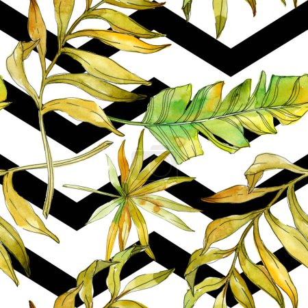 Photo for Tropical floral botanical flowers. Exotic plant leaf isolated. Watercolor illustration set. Watercolour drawing fashion aquarelle. Seamless background pattern. Fabric wallpaper print texture. - Royalty Free Image
