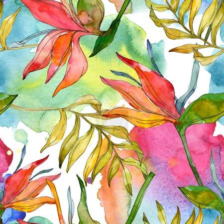 Photo pour Fleurs tropicales de botaniques florales. Feuilles des plantes exotiques isolé. Illustration aquarelle ensemble. Dessin aquarelle de mode aquarelle. Motif de fond transparente. Impression texture de tissu papier peint. - image libre de droit