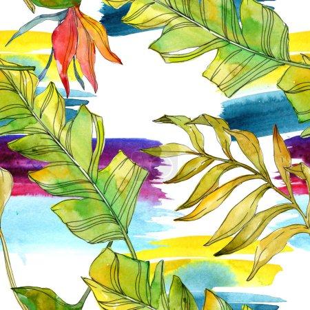 Photo pour Fleurs tropicales de botaniques florales. Feuilles des plantes exotiques isolé. Illustration aquarelle ensemble. Dessin aquarelle de mode aquarelle. Motif de fond transparente. Impression texture de tissu papier peint - image libre de droit