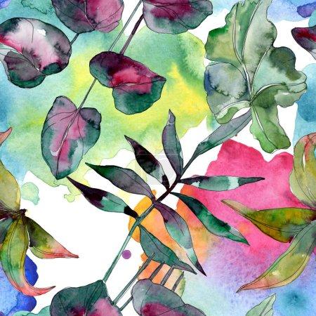 Photo pour Plante à feuilles vertes botanique. Été hawaïen tropical exotique. Ensemble d'illustration aquarelle. Aquarelle dessin mode aquarelle isolé. Modèle de fond sans couture. Texture d'impression papier peint tissu . - image libre de droit