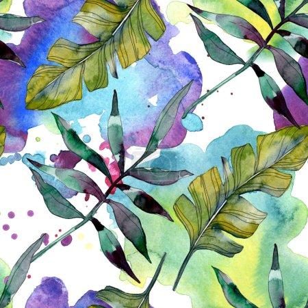Planta de hoja verde botánica. Verano hawaiano tropical exótico. Juego de ilustración en acuarela. Acuarela dibujo moda acuarela aislado. Patrón de fondo sin costuras. Textura de impresión de papel pintado de tela .