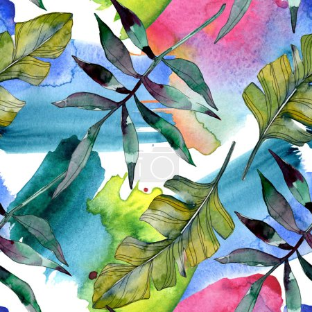 Photo pour Botanique de feuille verte de plante. Été hawaïenne tropicale exotique. Illustration aquarelle ensemble. Aquarelle de mode dessin aquarelle isolé. Motif de fond transparente. Impression texture de tissu papier peint. - image libre de droit