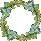"""Постер, картина, фотообои """"Зеленые листья растений ботанического сада листва. Экзотические тропические Гавайские лето. Акварель фон иллюстрации набора. Акварель рисования моды акварель изолированы. Площадь орнамент границы кадра."""""""