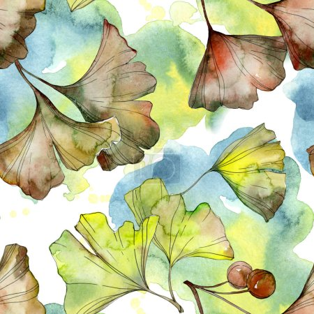 Foto de Yellow and green ginkgo biloba foliage watercolor illustration. Seamless background pattern. - Imagen libre de derechos
