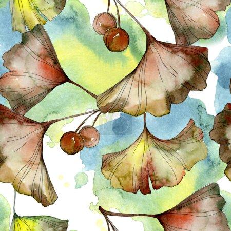 Yellow and green ginkgo biloba foliage watercolor illustration. Seamless background pattern.