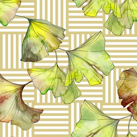 Photo pour Yellow and green ginkgo biloba foliage watercolor illustration. Seamless background pattern. - image libre de droit