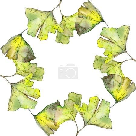 Photo pour Jaune et vert ginkgo biloba feuillage aquarelle fond illustration ensemble. Ornement de bordure cadre avec espace copie. - image libre de droit