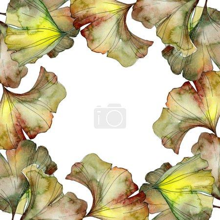 Photo pour Vert et jaune ginkgo biloba feuillage aquarelle fond illustration ensemble. Cadre bordure ornement avec espace de copie . - image libre de droit