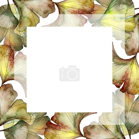 Green and yellow ginkgo biloba foliage watercolor background illustration set.  Frame border ornament with copy space.