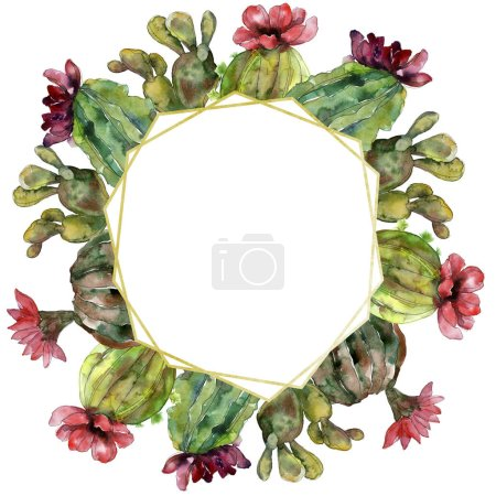 Photo for Green cactus floral botanical flower. Wild spring leaf wildflower isolated. Watercolor background illustration set. Watercolour drawing fashion aquarelle. Frame border ornament square. - Royalty Free Image