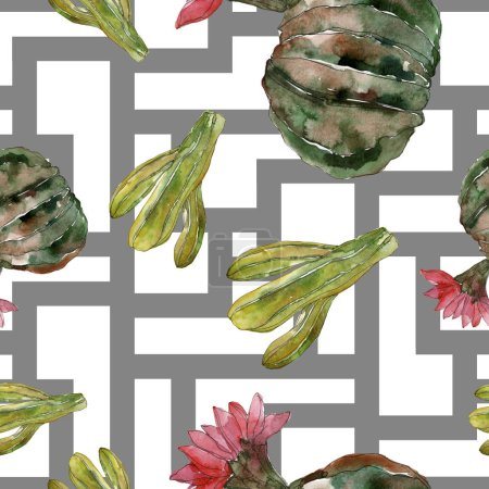 Photo for Green cactus floral botanical flower. Wild spring wildflower isolated. Watercolor illustration set. Watercolour drawing fashion aquarelle. Seamless background pattern. Fabric wallpaper print texture. - Royalty Free Image