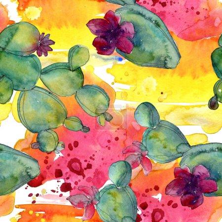 Photo pour Vert cactus illustration aquarelle ensemble. Motif de fond transparente. Impression texture de tissu papier peint. - image libre de droit