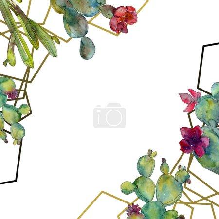 Foto de Conjunto de ilustración de fondo acuarela verde cactus. Ornamento de la frontera del marco con espacio de copia. - Imagen libre de derechos