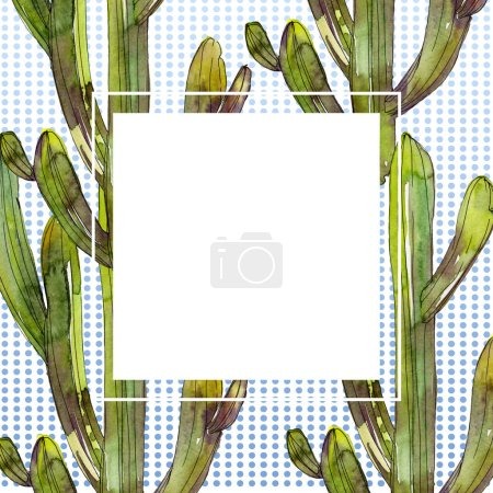 Photo for Green cacti watercolor background illustration set. Frame border ornament with copy space. - Royalty Free Image