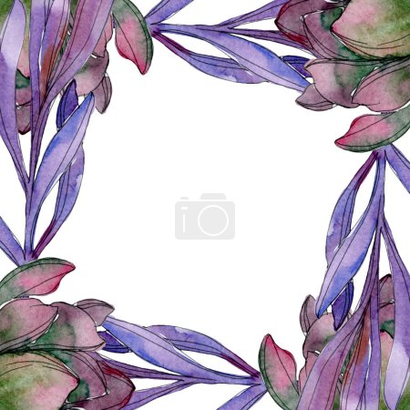 Succulent floral botanical flower. Wild spring leaf wildflower isolated. Watercolor background illustration set. Watercolour drawing fashion aquarelle isolated. Frame border ornament square.