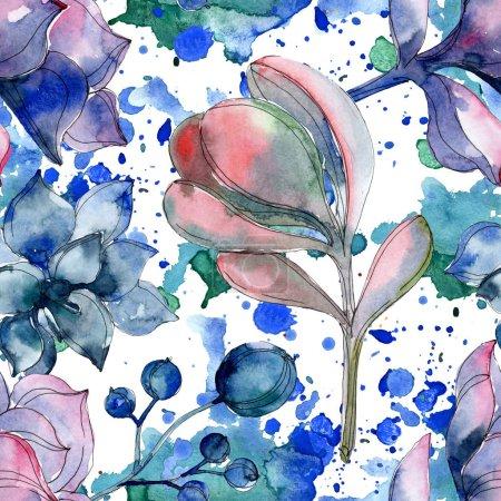 Succulent botanical flowers. Watercolor illustration set. Seamless background pattern. Fabric wallpaper print texture.