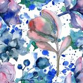 """Постер, картина, фотообои """"Сочные ботанического цветы. Набор акварели иллюстрации. Бесшовный фон узор. Обои для рабочего стола ткань печати текстуры."""""""