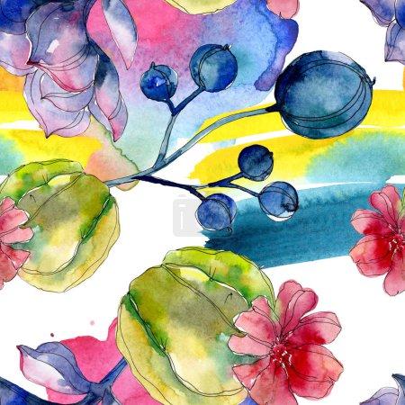 Photo pour Succulentes fleurs botaniques. Illustration aquarelle ensemble. Motif de fond transparente. Impression texture de tissu papier peint. - image libre de droit